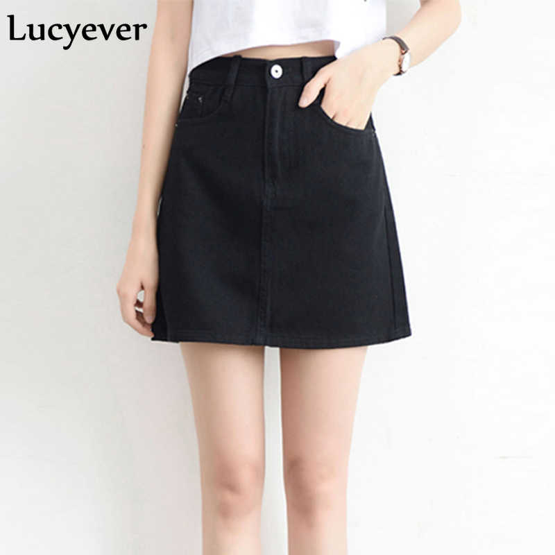 Lucyever אופנה קוריאני קיץ נשים ג 'ינס חצאית גבוהה מותן שחור מיני חצאיות חבילת ירך כחול ג' ינס harajuku בתוספת גודל כותנה