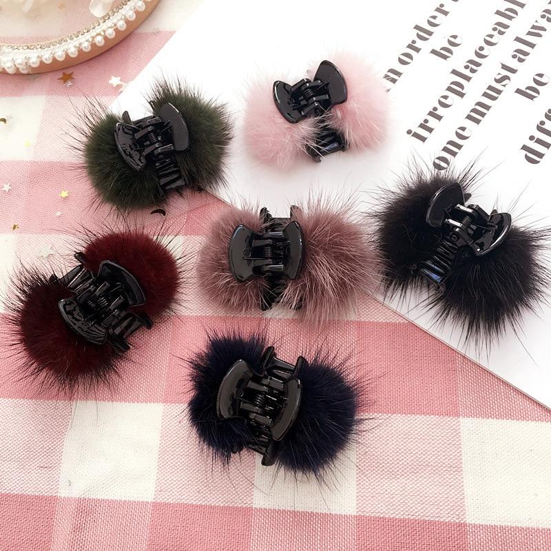 Faux Fur Ball Elegant Hair Claws Fuzzy Hair Accessories for Women Girls Hair Clips Grips Fashion Autumn and Winter Headdress|Women