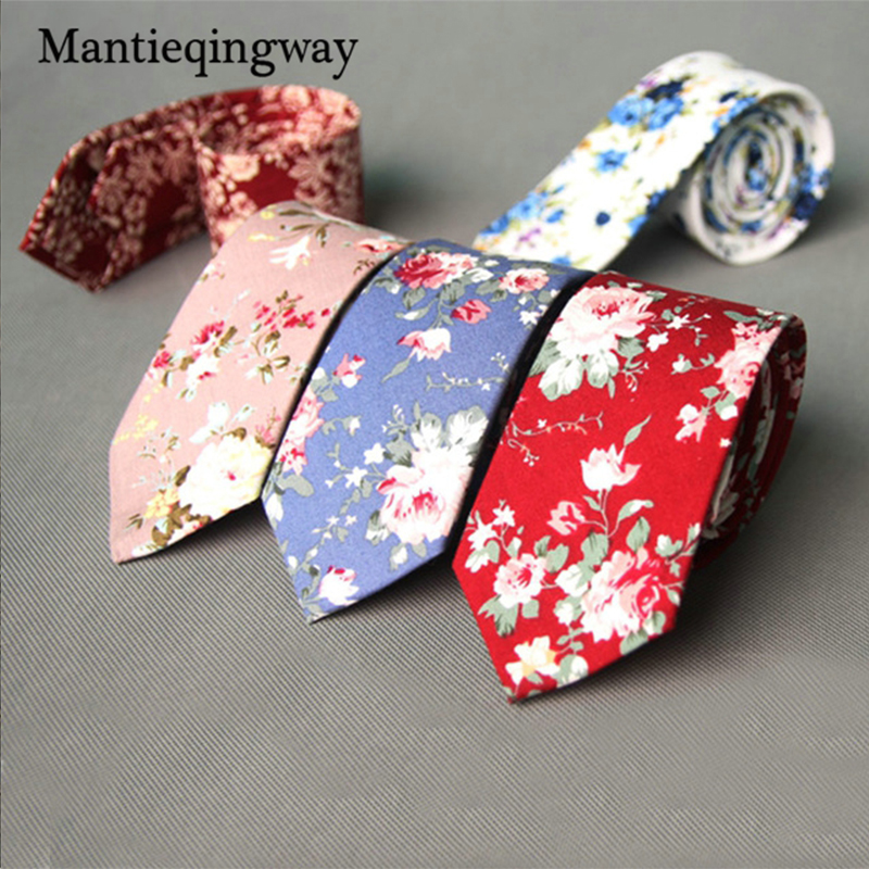Mantieqingway 6 cm poslovna ženica poročne cvetlične kravate bombažni moški tisk Skinny vratu kravate Gravatas tanke obleke kravate kravato za moške