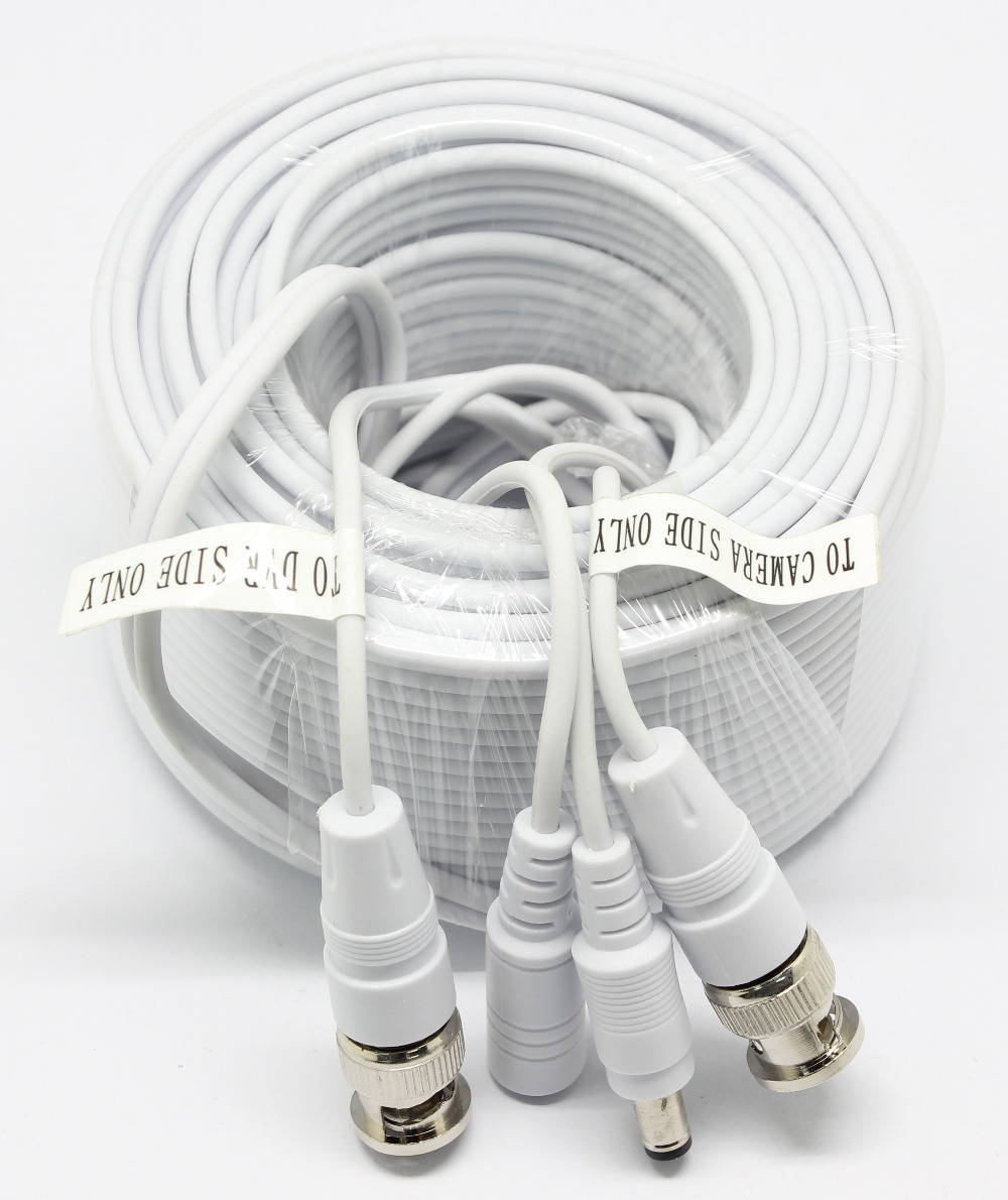 SunChan 18.3M 60FT CCTV Premade Siamese Cable with BNC+DC for CCTV Camera Cablel and DVRs BNC Coaxial Cable Video Cable