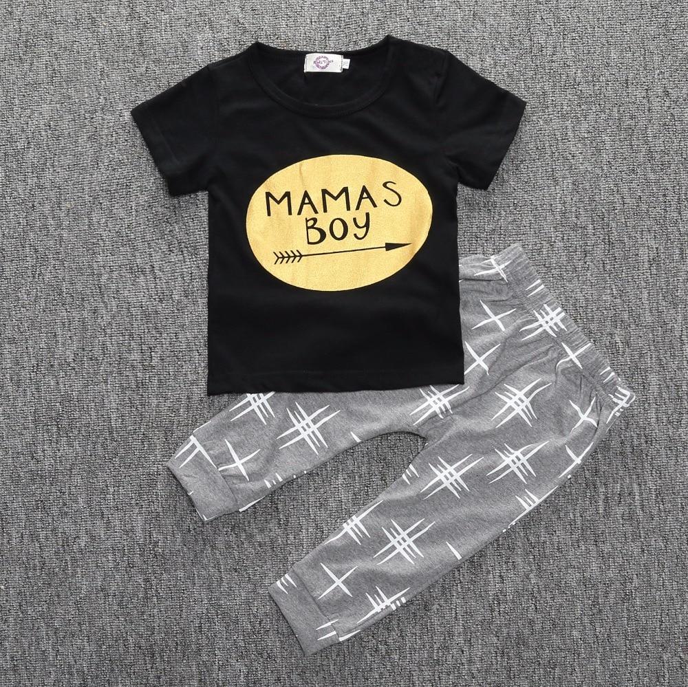 Boys Newborn cross printed letters short sleeve T-shirt + pants suit kids 2pcs set clothes wholesale