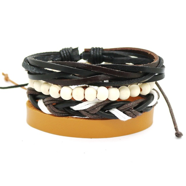 1 Set 4PCS leather bracelet Men's multi-layer bead bracelet women's retro punk casual men's jewelry bracelet jewelry accessories 4