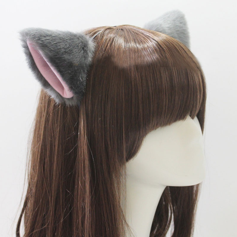 Hot Sale Solid Color Cute Imitation Animal Cat Fox Long Fur Ears Shape Hair Clip Party   Headwear   Wholesale