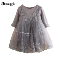 New Fashion Baby Girl Dress 2017 Spring Autumn Winter Girl Cotton Long Sleeve Dress Kids Knitted