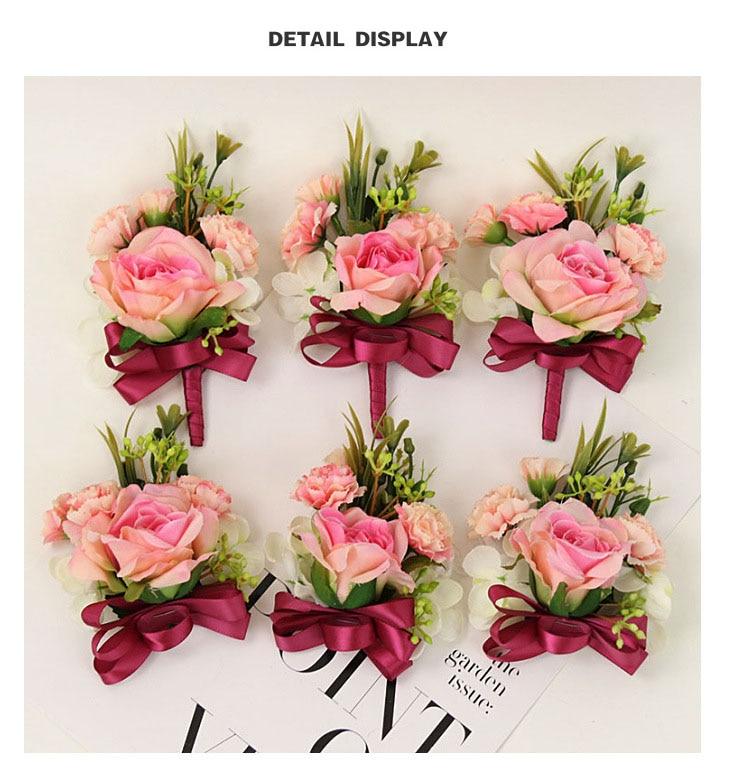 bridesmaid bracelet wedding corsage flowers roses artificial  (14)
