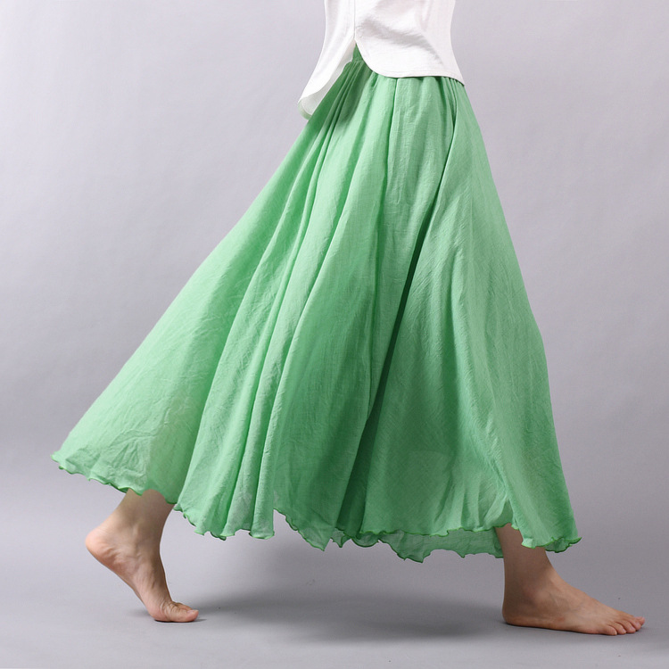 Sherhure 19 Women Linen Cotton Long Skirts Elastic Waist Pleated Maxi Skirts Beach Boho Vintage Summer Skirts Faldas Saia 12