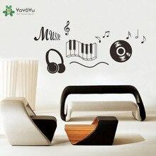 YOYOYU Wall Decal Vinyl Art Decor Music Headphone Dancing Notes Sticker for Bedroom Removeable Room Poster YO570