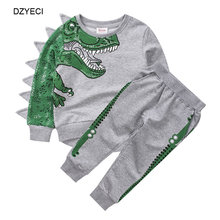 Коллекция года, осенне-зимний набор динозавров для маленьких мальчиков, спортивный костюм из бутика, Детская толстовка с рисунком крокодила топ+ спортивные штаны, комплект одежды