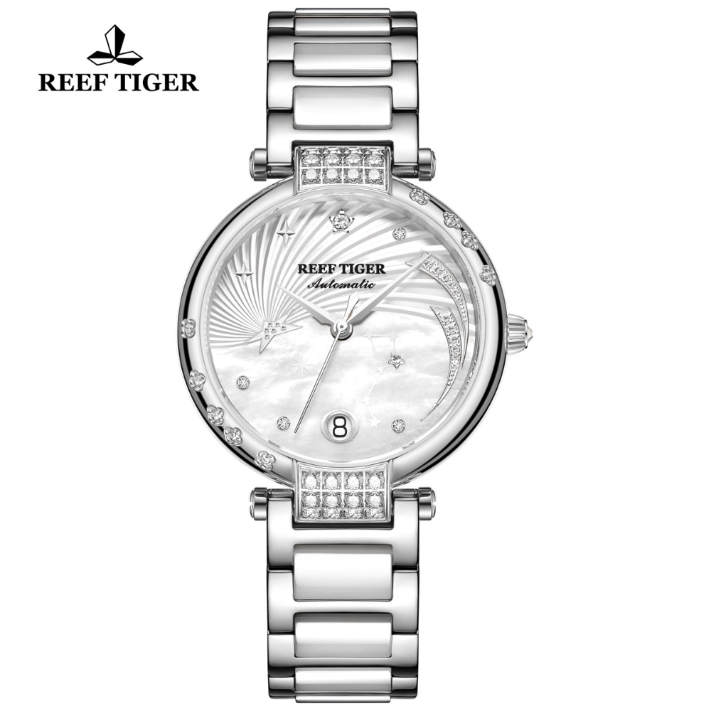 Reef Tiger Fashion and Elegant Steel Watch For Ladies Diamonds White Dial Stainless Steel Strap Automatic Wrist Watches RGA1592Reef Tiger Fashion and Elegant Steel Watch For Ladies Diamonds White Dial Stainless Steel Strap Automatic Wrist Watches RGA1592