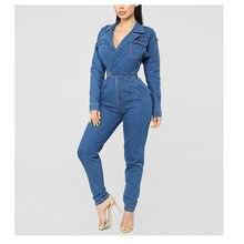 2f97cf1cfa3 Azul pantalones vaqueros mono Vintage cuello de manga larga Denim  Pantalones casuales de las mujeres monos mono
