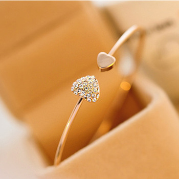 2018 Hot New Fashion Adjustable Crystal Double Heart Bow Bilezik Cuff Opening Bracelet Women Jewelry Gift Mujer Pulseras