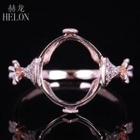 HELON 12x10mm Ovale Cut Semi Mount Unico Piuttosto Gioielli Solido 10 K Rose Gold Fidanzamento Matrimonio Pavimenta Diamanti naturali Anello Donne