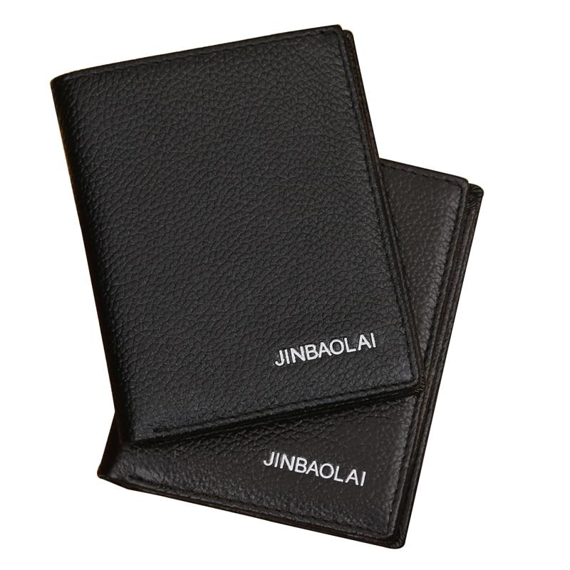 JINBAOLAI Genuine Leather Men Wallets Multi-Card Bit Short Purses Driving Documents Money Bags Soft Solid Male Student Wallet