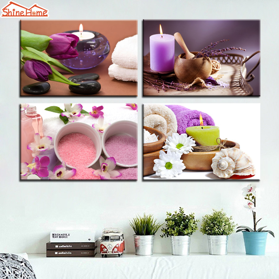 Hd Canvas Prints Picture Spa Nail Salon Store Decor Wall: ShineHome 4pcs Wall Art Canvas Painting Printing Spa Body