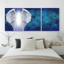 Laeacco Canvas 3 Panel White Angel Wings Calligraphy Painting Wall Decor Posters and Prints Living Room Home Wedding Decoration