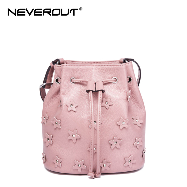 NeverOut 3 Color Genuine Leather Bucket Bag Brand Name Women Flowers Shoulder  Sac Lady Messenger Bags Solid Crossbody Bags 9713c8a35f
