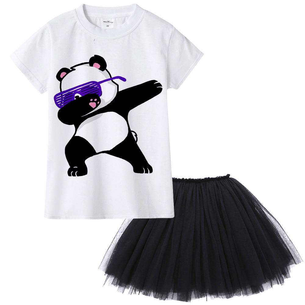 Cute Funny Dab Animal Girl Clothing Set Dabbing Unicorn Cat Dog Pug Panda Zebra Rabbit Girl T Shirt + Tutu Skirt Two Pieces Set
