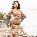 le palais vintage winter 50s camel fur flare sleeve hollow waist bow wool wiggle midi pencil dress elegant vestidos plus size
