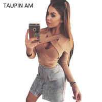 Sexy Bandage Crop Top Long Sleeve Bustier Lace Up Black Autumn Tops 2016 White Women Blouse