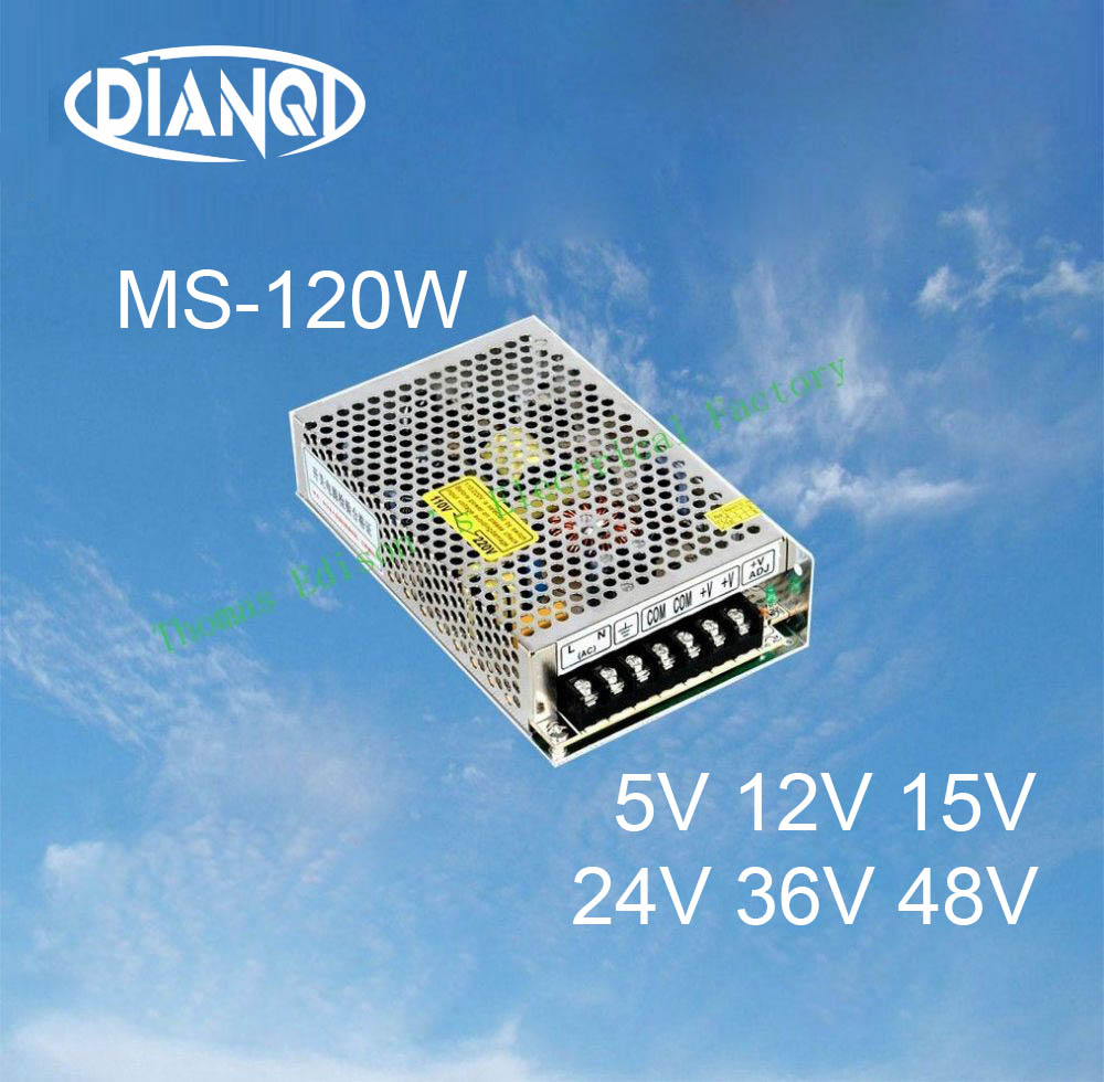 DIANQI 36V 48V Mini Size Switching Power Supply 12V 15V Output 120W ac to dc regulator for LED strip ms-120 15V 5V 24V chux switching power supply 120w 12v small volume led strip light ac to dc ms 120w 12v single output 10a power suppyliers
