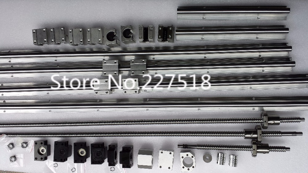 6 sets linear rail SBR16 L300/700/1100mm+SFU1605-350/750/1150mm ball screw+3 BK12/BF12+3 DSG16H nut+3 Coupler for cnc 6 sets linear guide rail sbr16 300 700 1100mm sfu1605 350 750 1150mm ballscrew set bk bk12 nut housing coupler cnc par