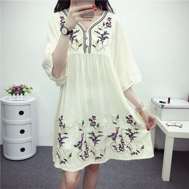 Hot Sale Free Shipping Vintage 70s Mexican Ethnic Embroidered Boho Hippie Loose Causel Women Chic Mini Dress