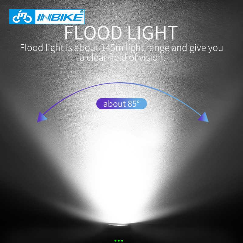 INBIKE велосипедный фонарь MTB велосипед фара Водонепроницаемый светодиодный блок питания USB Перезаряжаемый фонарик 600-1000 Люмен передняя лампа 6 режимов