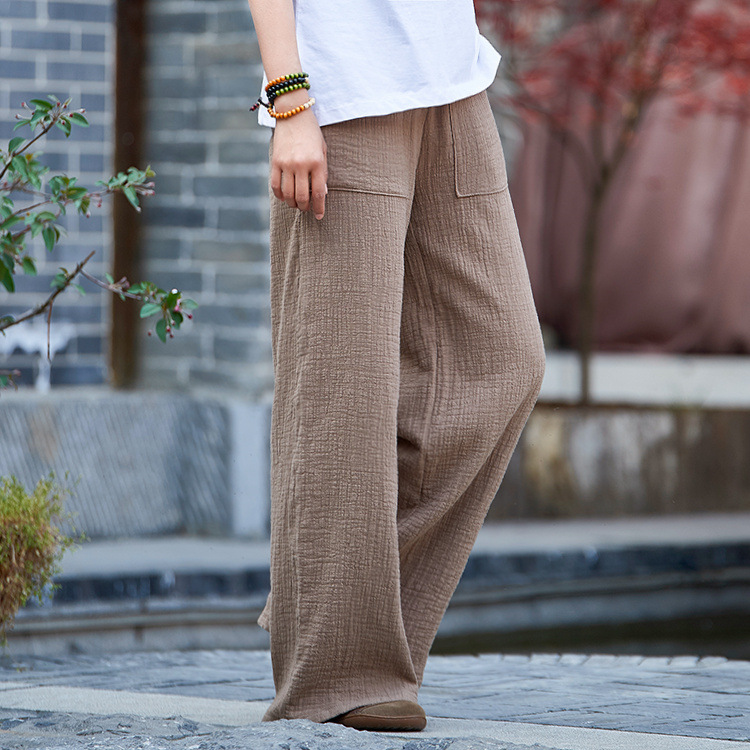 cotton linen womens new products national wind retro double bamboo womens trousers straight leg pants