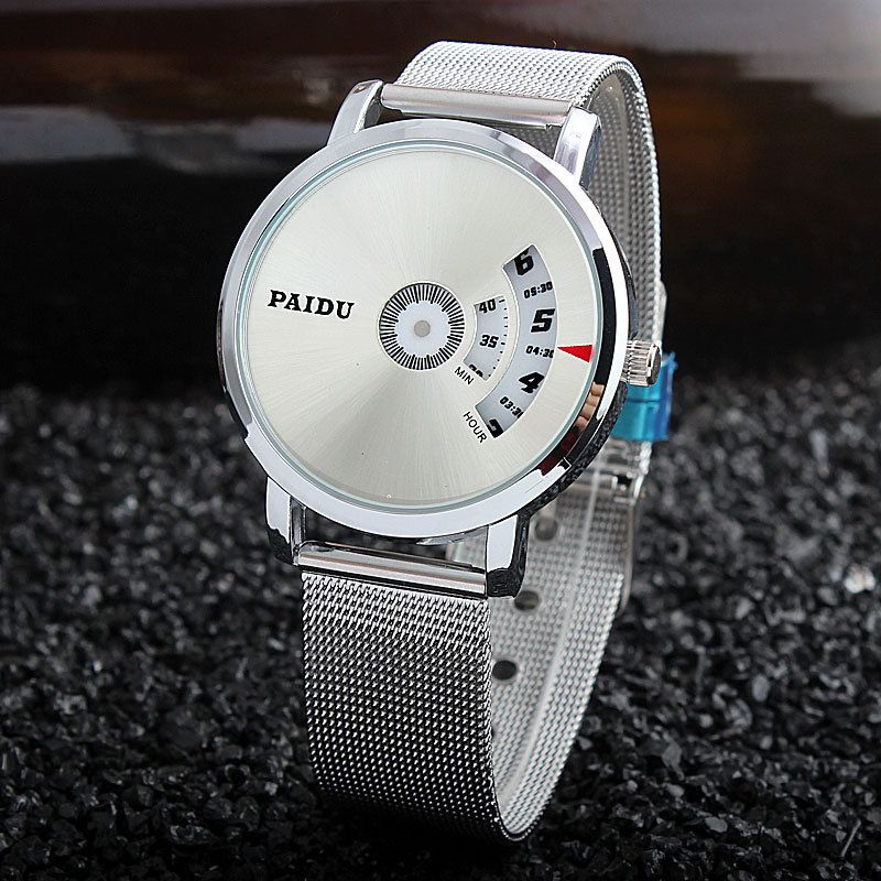 Fashion Brand Men Business Casual Watches Mesh Stainless Steel Gentleman Turntable Design Relogio Masculino 2016 Wristwatch PD02