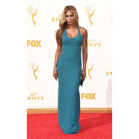 Teal Celebrity Dresses Laverne Cox Red Carpet Dresses 67th Emmy Awards Sexy Party Gown Ruched Celebrity Inspired Dresses
