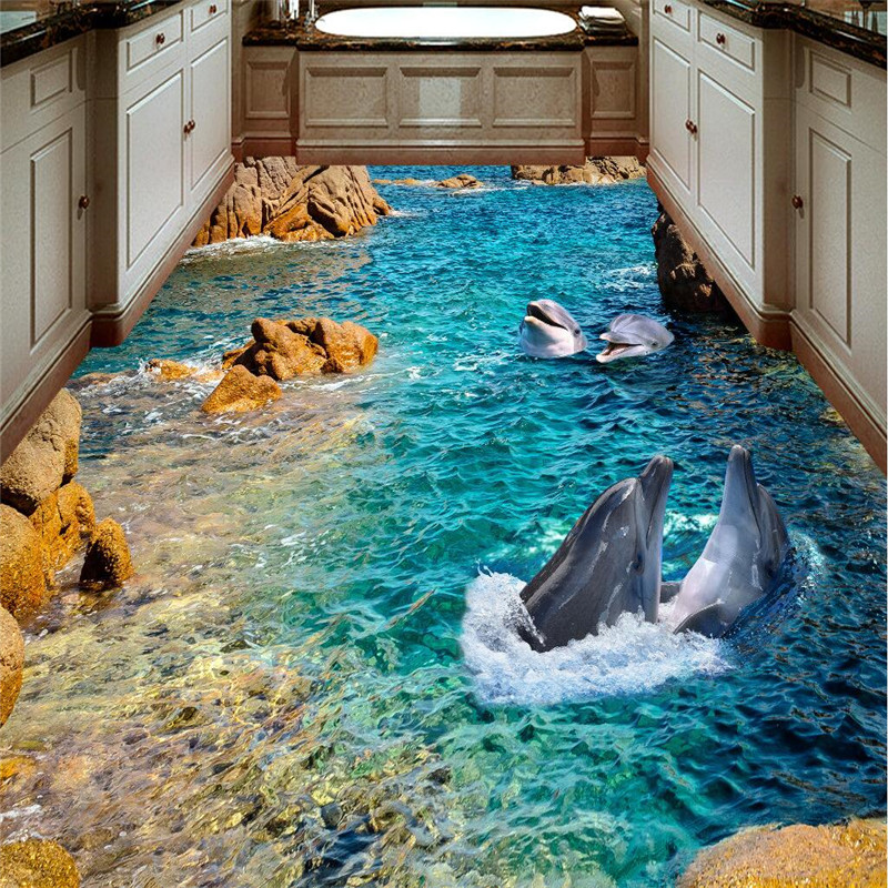 beibehang sticker 3D floor mural HD stone dolphin coast non-slip waterproof thickened self-adhesive PVC Wallpaper floor painting 3d rock sea floor sticker