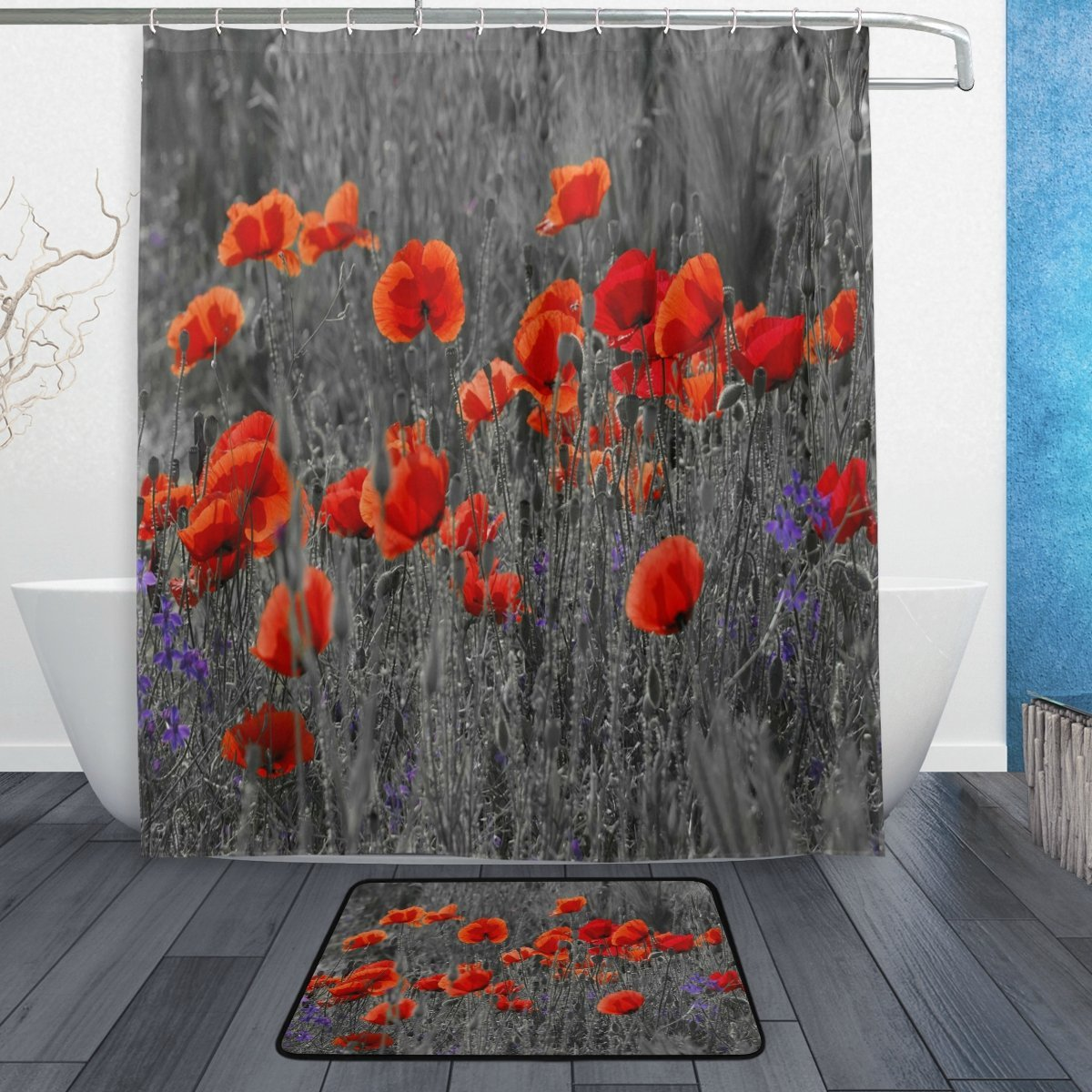 Rose Poppy Shower Curtain And Mat Set Flower Floral Waterproof Polyester Bathroom