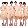 Trasero largo delantero corto champán elegante de moda más mujeres del tamaño vestido formal longitud de la rodilla altos vestidos de cóctel bajos W1358
