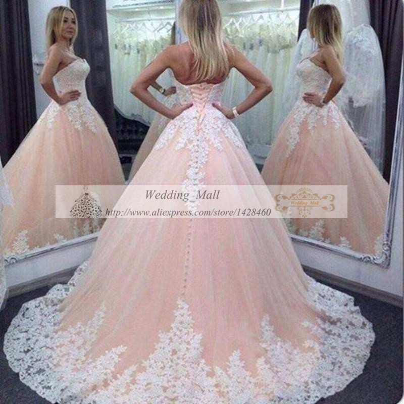 Plus Size Arabic Light Pink Wedding Dresses 2017 New Arrival White Lace Liqued Strapless Country Bridal Gowns Robe De Mariee In From