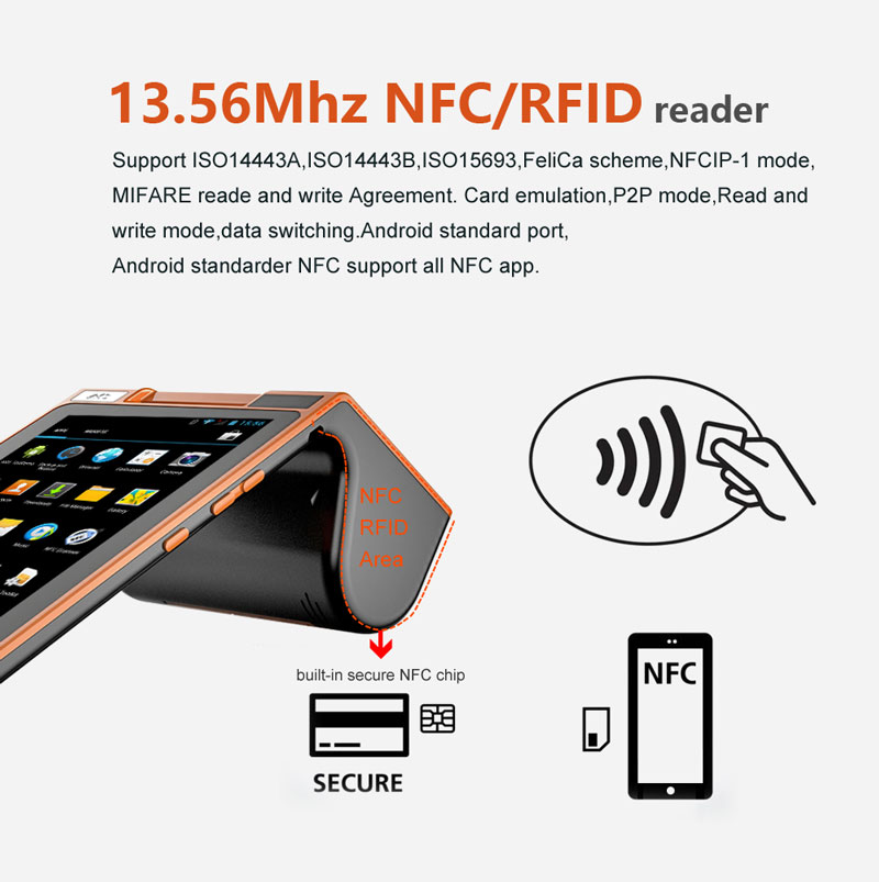 US $180 0 |Android 7 inch touch screen nfc card reader qr code payment  mobile payment pos terminal-in Scanners from Computer & Office on
