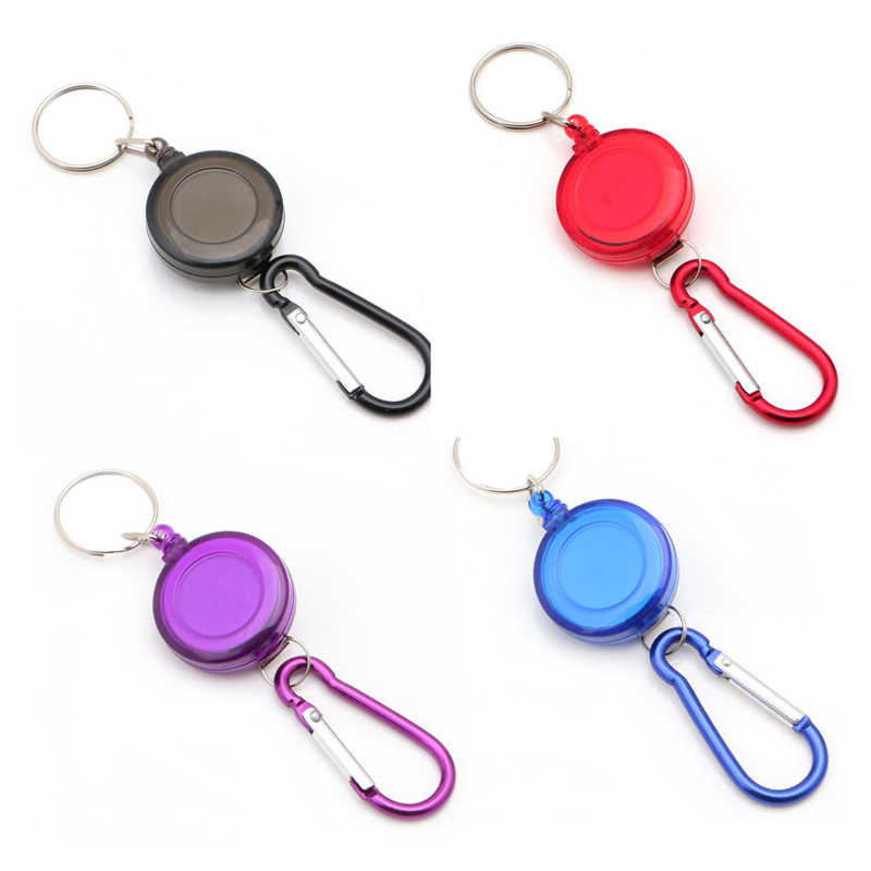 Plastic Badge Spreader Carabiner Recoil Retractable Reel Strap Belt Clip Key Chain Ring Rings Women Men Jewelry