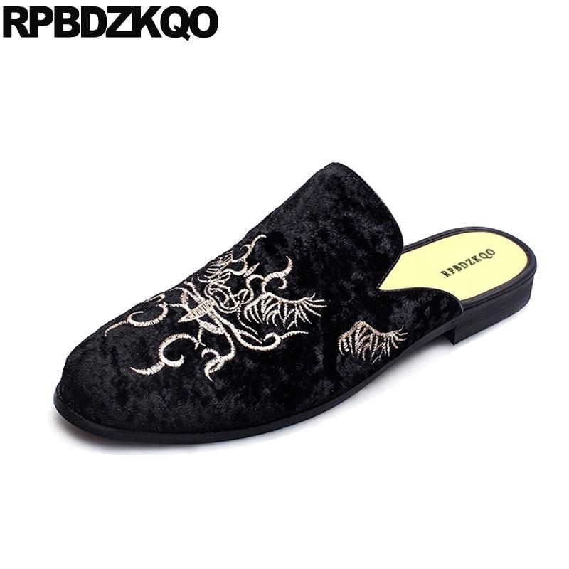 Sapatos Mulas Preto 3 Print Apartamentos Animal 2018 black black black Dos Black Casuais Sola Conforto De Elegantes Borracha 2 Bordado Sobre Homens Moda Deslizar 4 Veludo Designer 1 f7vAq