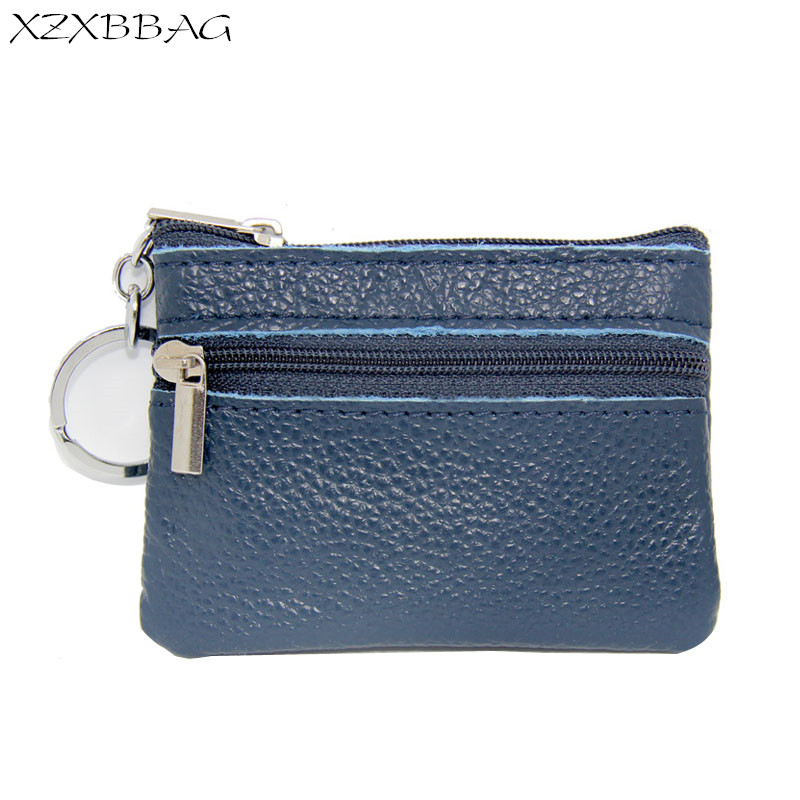 XZXBBAG Unisex Fashion Genuine Leather Zipper Coin Purses Female Money Bag Man Card Wallet Woman Change Purse Key Package XB496 xzxbbag fashion female zipper big capacity wallet multiple card holder coin purse lady money bag woman multifunction handbag