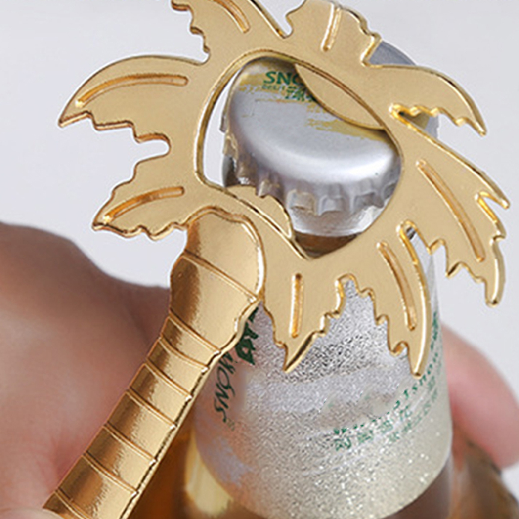 1Pc Wine Bottle Opener Coconut Tree Shape Glass Cap Beer Palm Breeze Bottle Opener For Bar Home Practical Tool Silver Gold Color