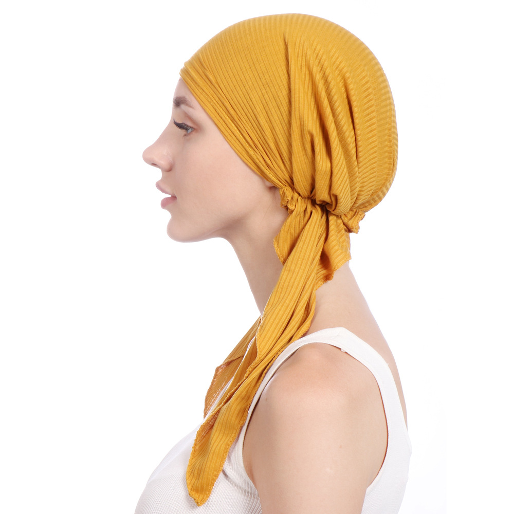 Image 3 - Muslim Women Stretch Solid Wrinkle Turban Hat Cancer Chemo 