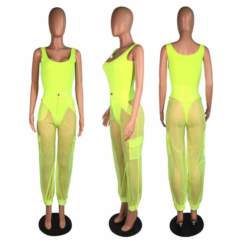 ANJAMANOR Gợi Cảm Hai Bộ Bodysuit Trên và Quần Lưới Hồng Neon Mùa Hè Xanh 2 Mảnh Câu Lạc Bộ Trang Phục Phù Hợp Với Bộ d59-AB72