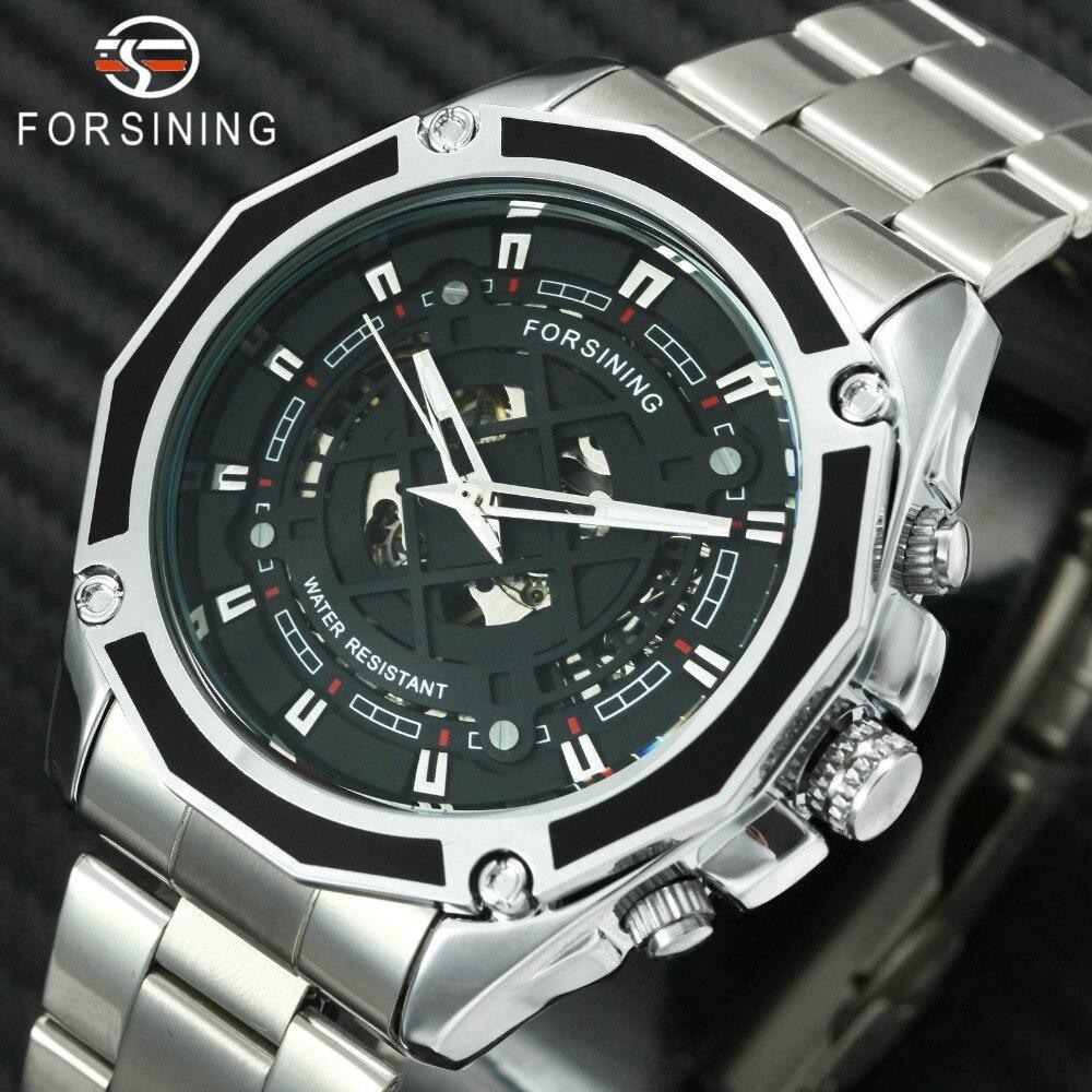FORSINING 2018 модные Водонепроницаемый часы Для Мужчин Скелет механические часы светящиеся стрелки Нержавеющаясталь мужской наручные часы