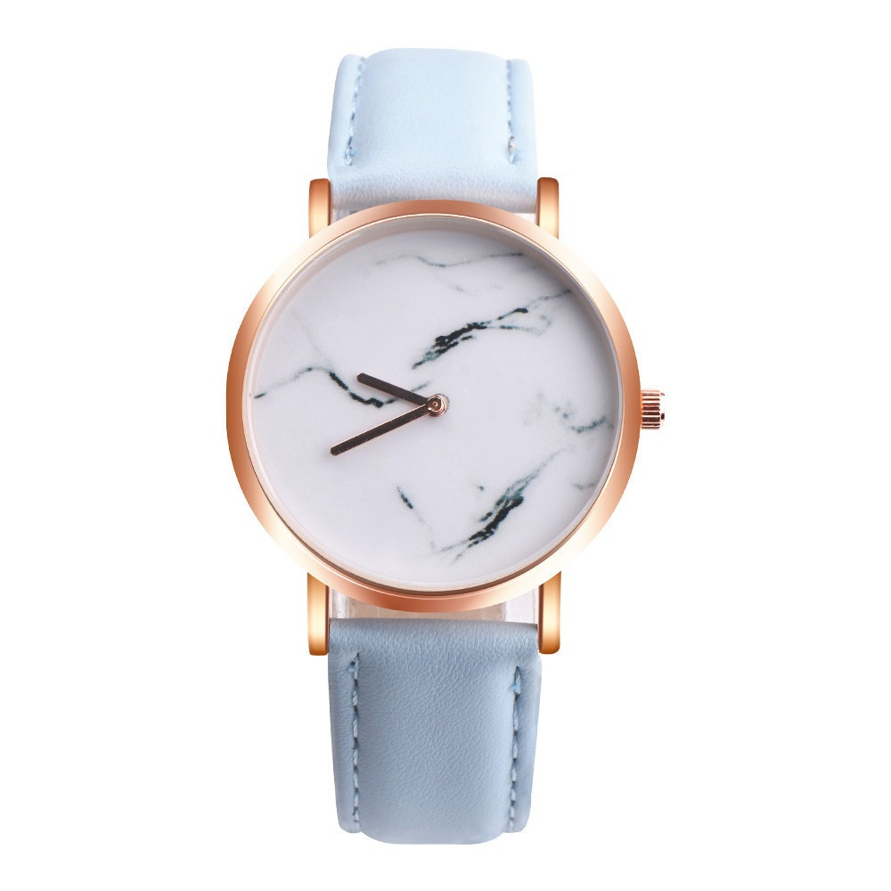 2017 New Women Marble Surface Stainless Steel Band Leather Movement Wrist Watch Y7911*