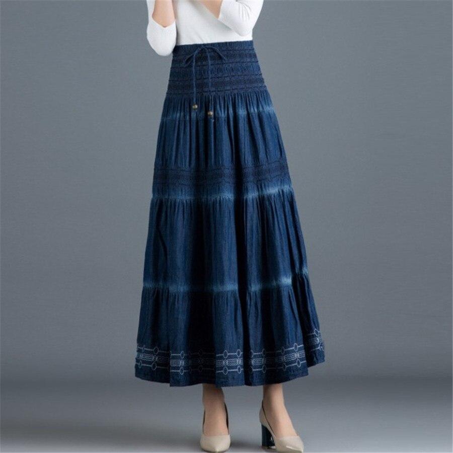 Vintage Summer Maxi Skirt Casual  Cotton Denim Long Skirt Women Elastic Waist A Line All-match Loose Jeans Skirt  Ds50556