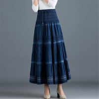 Vintage Summer Maxi Skirt Casual Cotton Denim Long Skirt Women Elastic Waist A Line All match Loose Jeans Skirt Ds50556