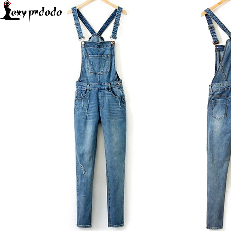 Sexy Pants Romper Women Ripped Pockets Full Length Denim Jeans Jumpsuit Denim Jumpsuits Plus Size XL Denim Pencil Overalls Jeans