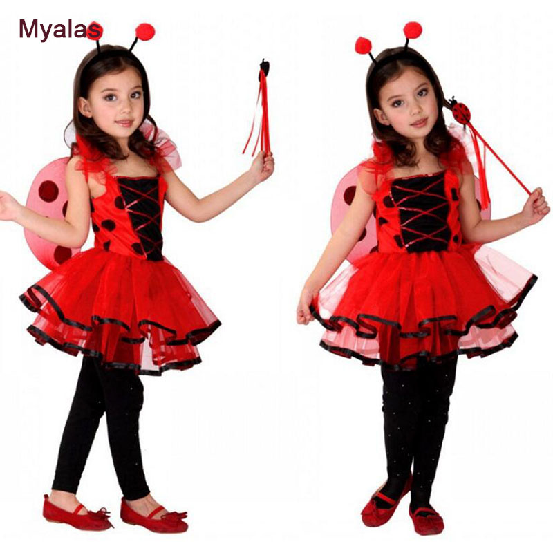 Girls Ladybug Kids Insect butterfly Wizard Animal COS Anime Cosplay Halloween Fairy Costumes Carnival Masquerade Stage dress