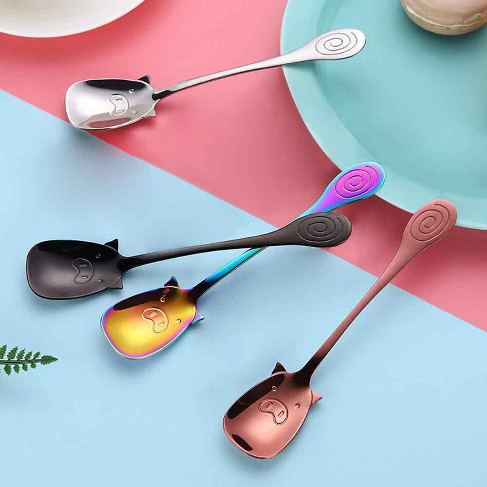 Cuillère colorée mignon poignée cuillères couverts crème glacée outils à boire cuisine Gadget acier inoxydable cuillère à café Cozinha chaud BB4