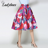 LADYBEES 2017 Summer Women Skirts Red Floral Birds Printed Pleated Midi Skirt Retro Vintage Princess Party