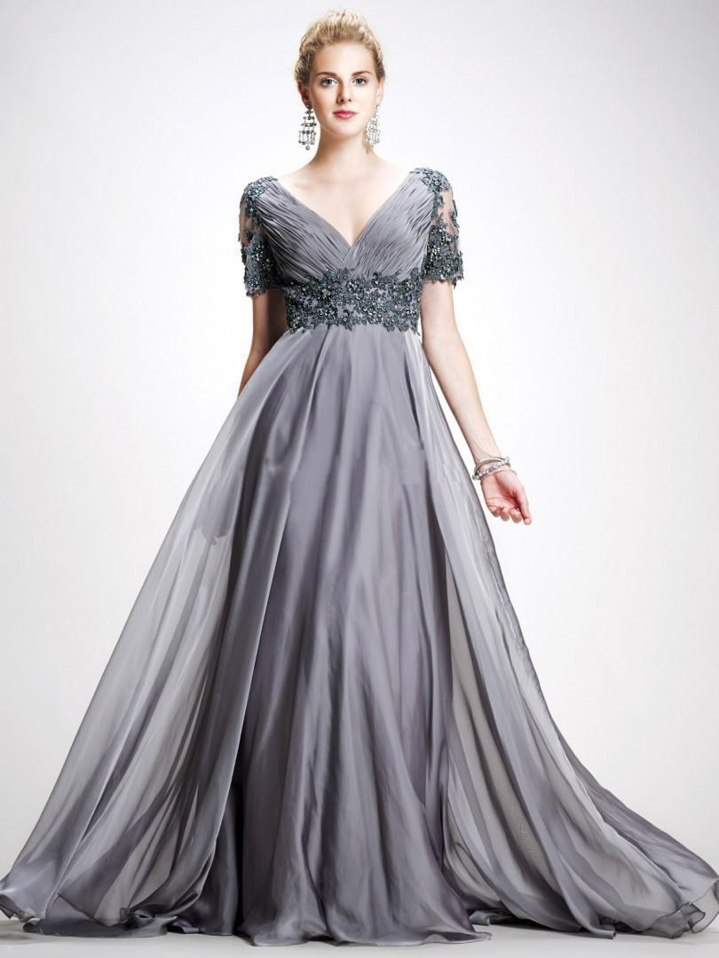 2015 Charming Chiffon gray chiffon appliques long mother dresses ...